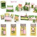 4 шт./компл. Мини Кукольный Домик мебель миниатюрные игрушки кухня гостиная зеленый кровать стул стол игрушка в подарок девушка дети куклы аксессуары