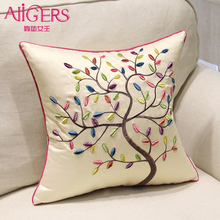 Avigers Fashion Pastoral Cushion Embroidery Life Tree Butterfly Pillow European Style Flower Home Decor Sofa Chair Throw