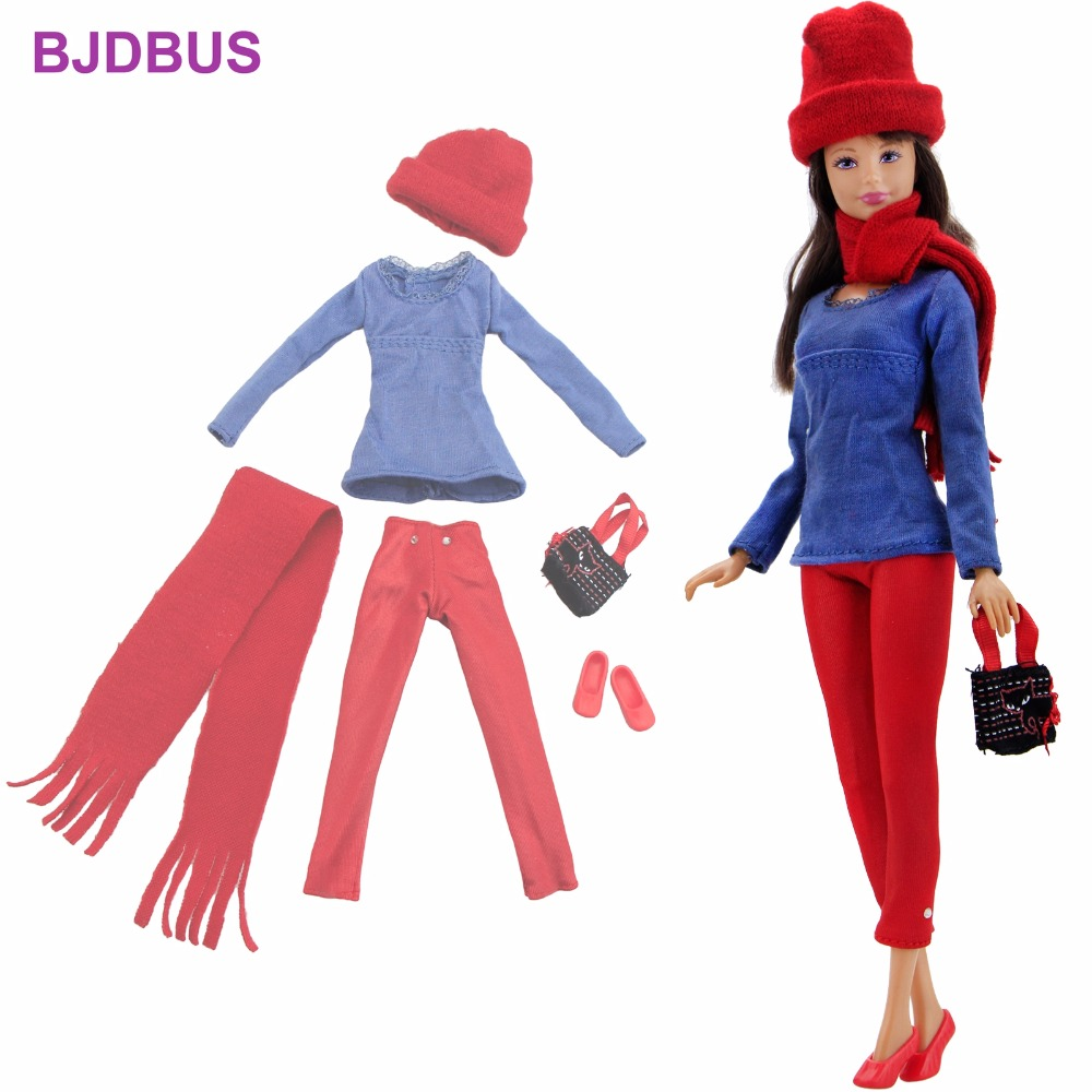 High Quality Outfit Daily Casual Wear Blouse Red Pants Hat Shoes Scarf Handbags Clothes For Barbie Doll Accessories Kids Gift fashion outfit daily casual wear halter backless blouse jeans trousers handbag shoes clothes for barbie doll accessories gift