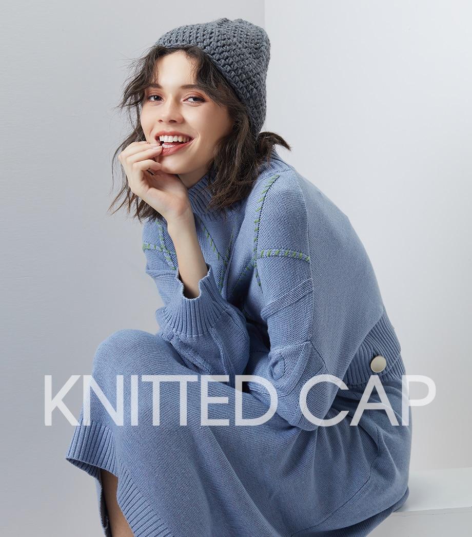 0b759e5f8e351 Handmade Knitting Wool Hat Female Winter Beanie Ladies Warm Coarse Hats  2018 New Autumn Bobble Caps ...