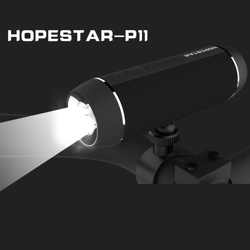 HOPESTAR P11 Waterproof Bluetooth Speaker Outdoor Bicycle Portable Subwoofer FM Wireless Speakers Powerbank LED Light Bike Mount
