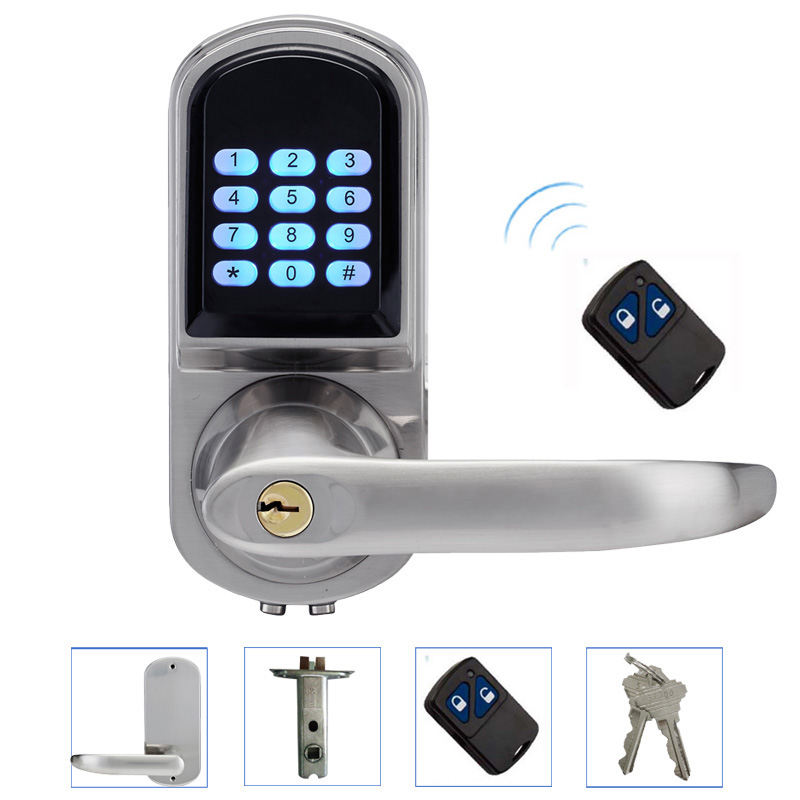 Electronic Door Lock Remote Control, Password, Mechanical Key, Digital Intelligent Smart Entry Keyless Lock L&S L16071BSRM remote control electronic door lock set automatically intellisense household warded lock with 4 remotes