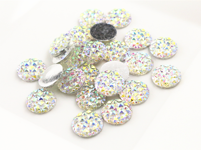 New Fashion 40pcs 12mm White AB Color Flat Back Resin Cabochons Cameo  G6-21