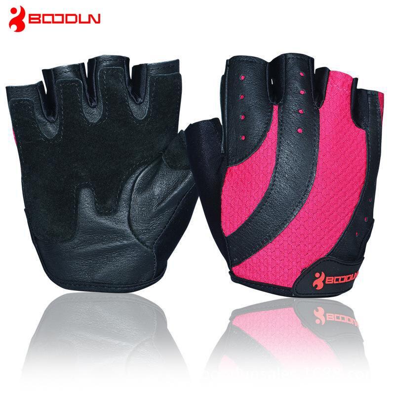 Sport Gloves For Gym: Boodun Women Fitness Gym Gloves Mesh Fabric & Pigskin