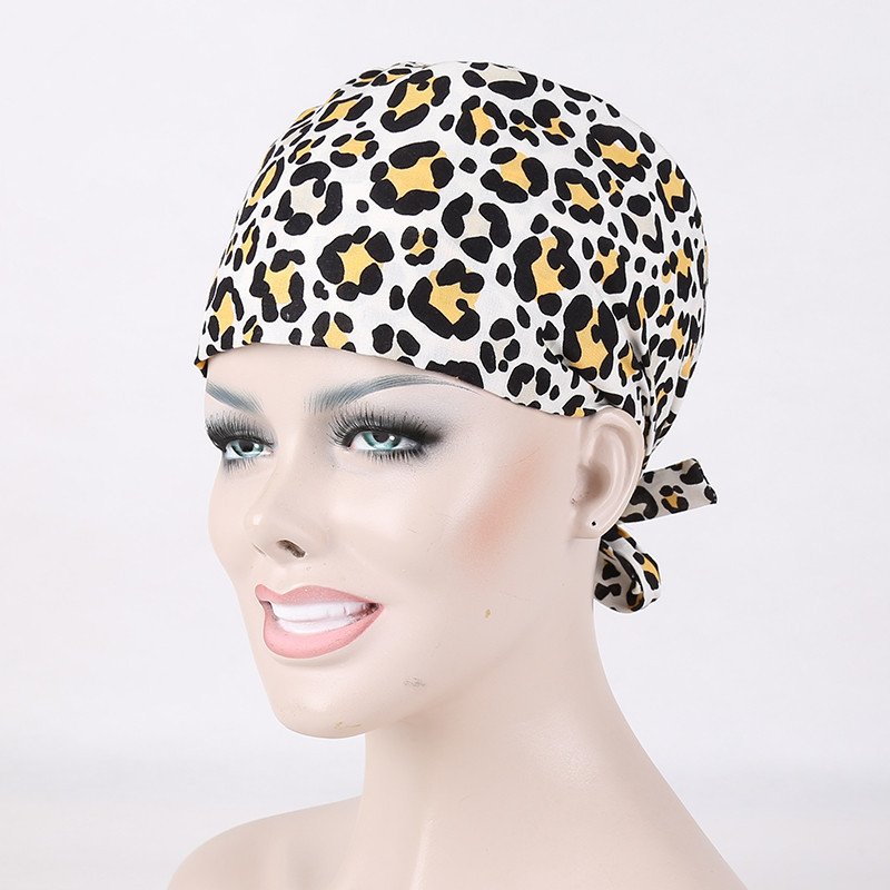 2018 Winter Leopard Print Pure Cotton Women's Surgical Cap Nurse Medical Caps Hospital And Clinic Working Hat 15