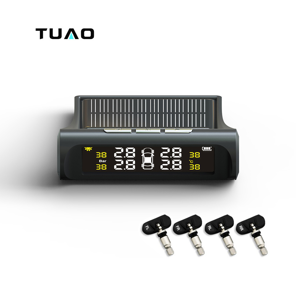 TUAO Car TPMS Tire Pressure Monitoring System Car electronics Solar Power Charging