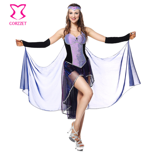 dd27c5fe9e6 Purple Black Seductive Sorceress Costume Cosplay Adult Witch Magic Moment  Fancy Dress Sexy Halloween Costumes