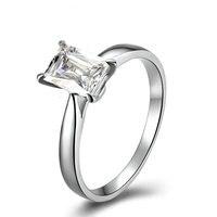 에메랄드 컷 GIA 다이아몬드 약혼 반지 0.91ct 솔리테어 GIA 다이아몬드 보석 18 천개 골드 웨딩 밴드 수제