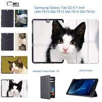MTT Cute Kitty Leather Case For Samsung Galaxy Tab S2 9 7 T813 T819 2 Flip
