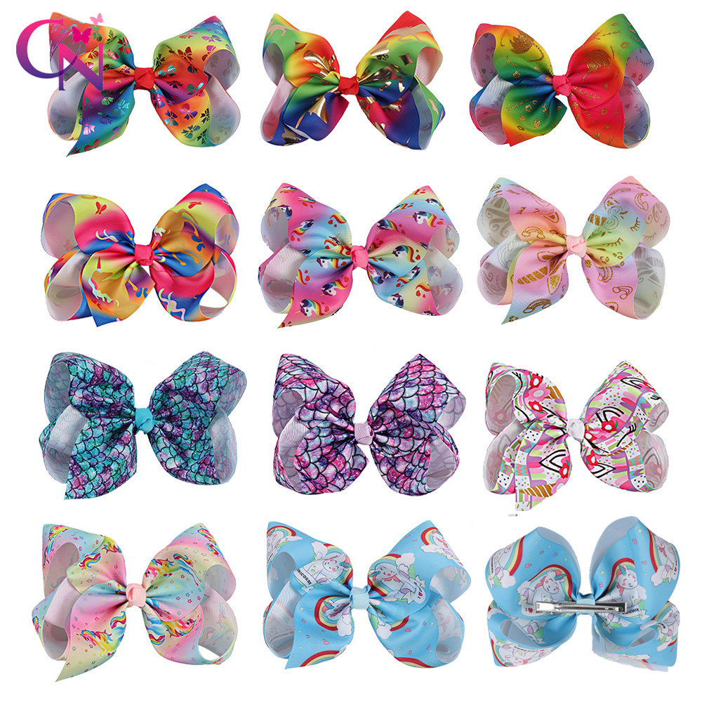 "11 Pieces/lot 7"" Rainbow Unicorn Hair Bows With Hair Clips For Girls Kids Handmade Large Mermaid Knot Jumbo Bow Hair Accessories To Invigorate Health Effectively"