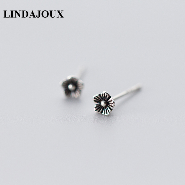 9fb63f35a1912 US $2.39 20% OFF|LINDAJOUX 925 Sterling Thai Silver Vintage Flower Shaped  Stud Earrings For Women S925 Silver Small Studs Earring-in Stud Earrings ...