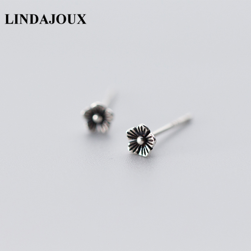 LINDAJOUX 925 Sterling Thai Silver Vintage Flower Shaped Stud Earrings For Women S925 Silver Small Studs Earring
