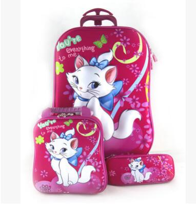 3D stereo Kids trolley Bag for school Children trolley Bag on wheels Kids Rolling Suitcase for gril boy Student Rolling Bags(China)