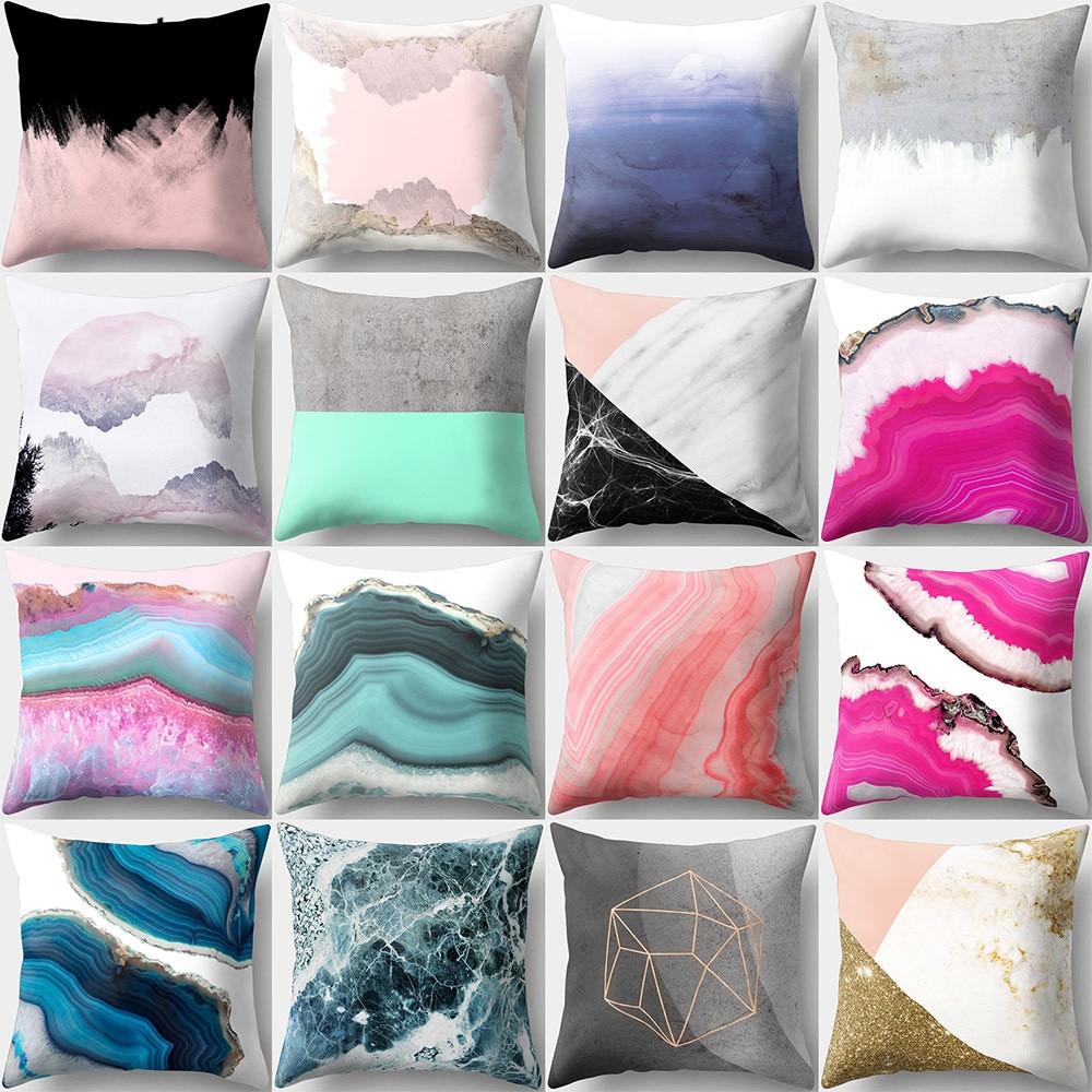 Hongbo 1 Pcs Colorful Marble Printed Pillow Case Cushion Cover Peach Skin Bed Pillowcase Square For Car Sofa Home Decor Decor
