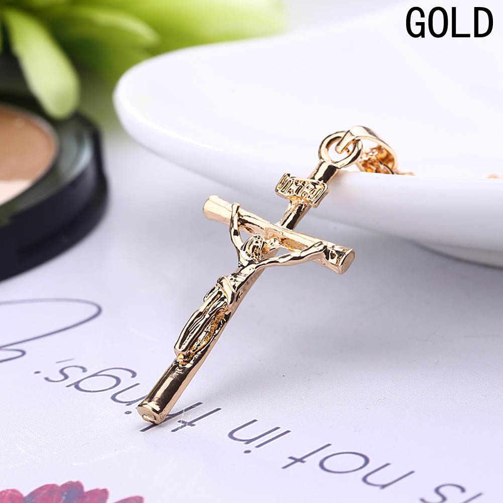 Jesús Cruz collar mujeres/hombres joyería moda plata/el Color oro INRI crucifijo Jesús colgante para hombres alto calidad