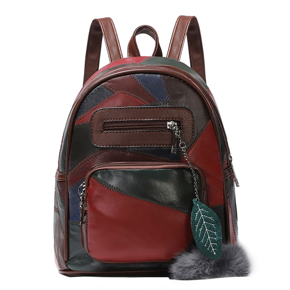 New Brand 2018 Women Patchwork Backpacks Small Bags For Girls PU Leather Fashion Women Leisure Bags Dailypack With Hairball #40