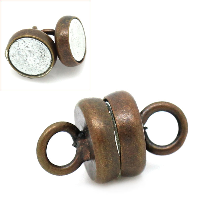 Copper+Magnetic Hematite Magnetic Clasps Round Antique Copper 11mm( 3/8) x 6mm( 2/8), 1 Set newCopper+Magnetic Hematite Magnetic Clasps Round Antique Copper 11mm( 3/8) x 6mm( 2/8), 1 Set new