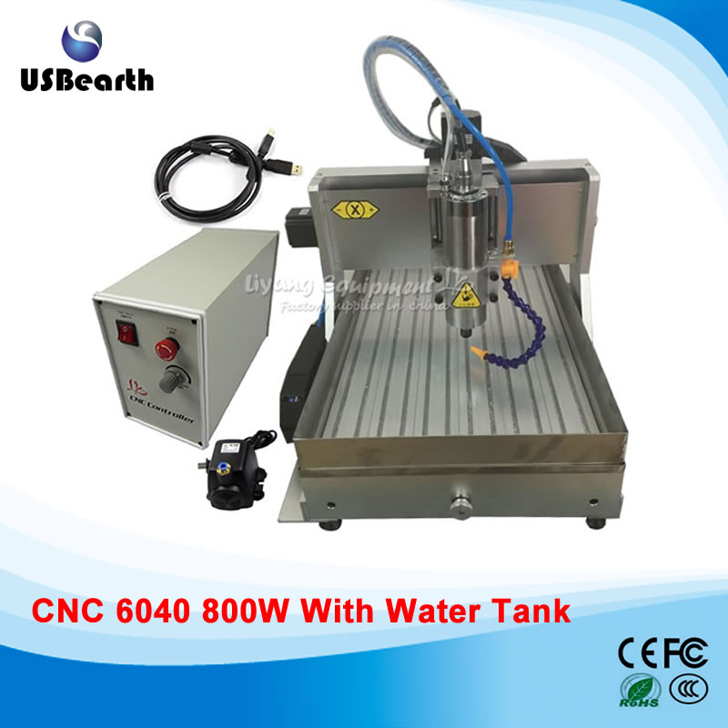 small metal cnc router with water tank, cnc 6040 mini cnc milling machine with water tank high performance mini cnc machine 6040 4axis with water tank for metal wood stone milling no tax to russia