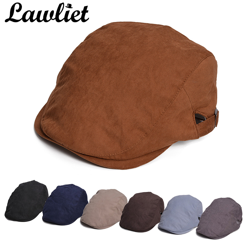 Lawliet Beret Hats for Winter Cotton Man Driver Golf Cabbie Gatsby Cap Solid Color Womens All Season Duckbill Ivy Hats
