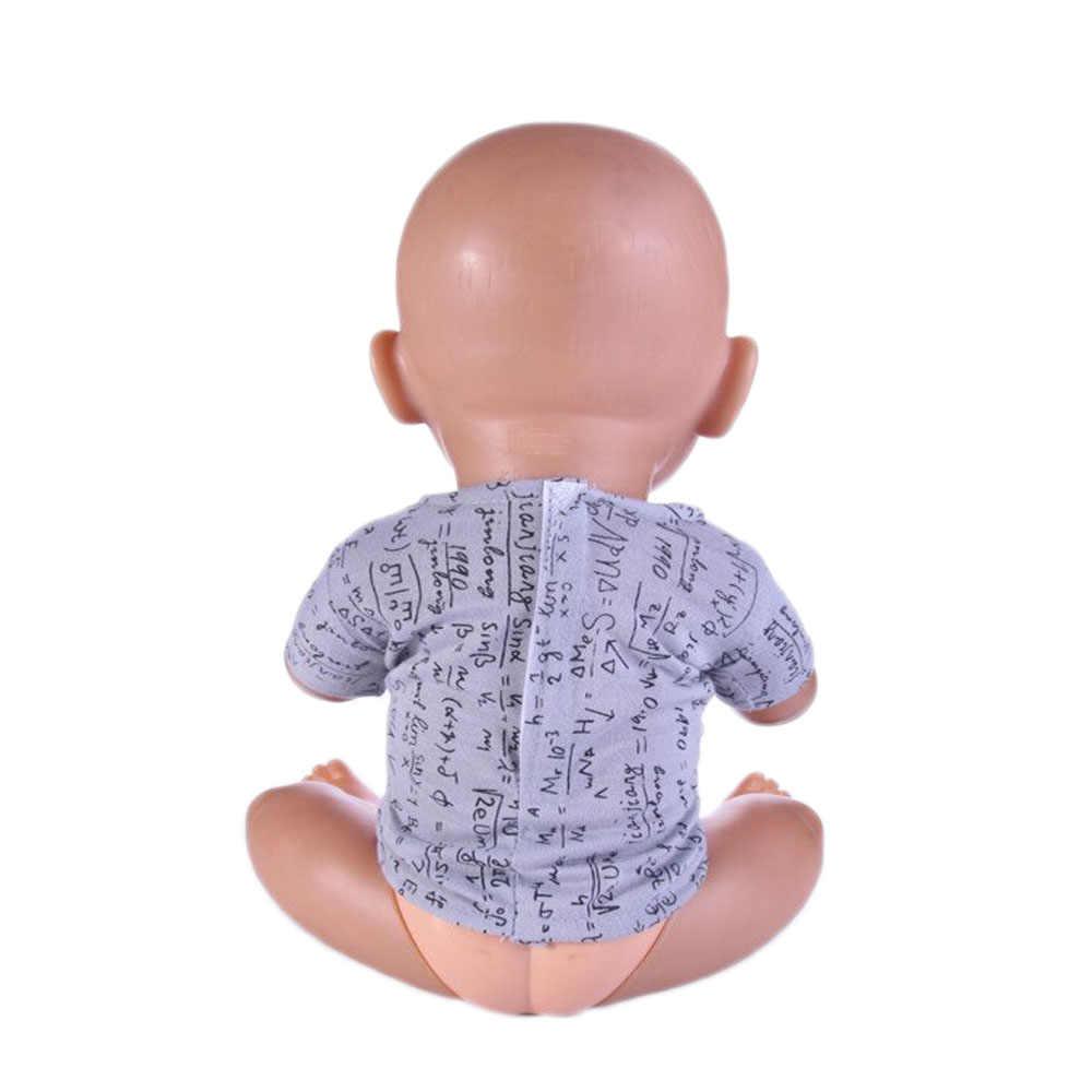 ตัวอักษรสีเทาเสื้อยืดตุ๊กตาเสื้อผ้า 18 นิ้ว, 43 ซม. ตุ๊กตาเสื้อผ้าเด็กที่ดีที่สุดของขวัญ N512