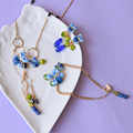 Les Nereides blue Flowers  Necklace For Women All-match Elegant Fashion Jewelry Accessories