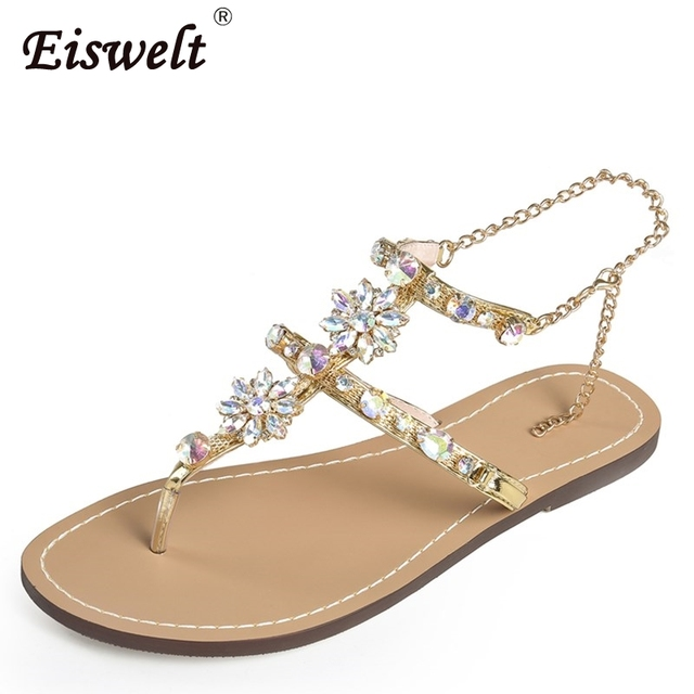 EISWELT Woman Sandals Women Shoes Rhinestones Chains Thong Gladiator Flat  Sandals Crystal Chaussure Tenis Feminino