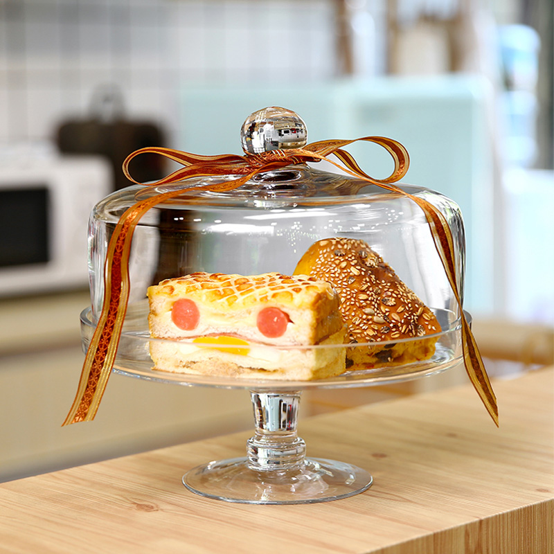 European transparent glass cover cake tray pastry candy dish dust cover high tray creative wedding home decoration