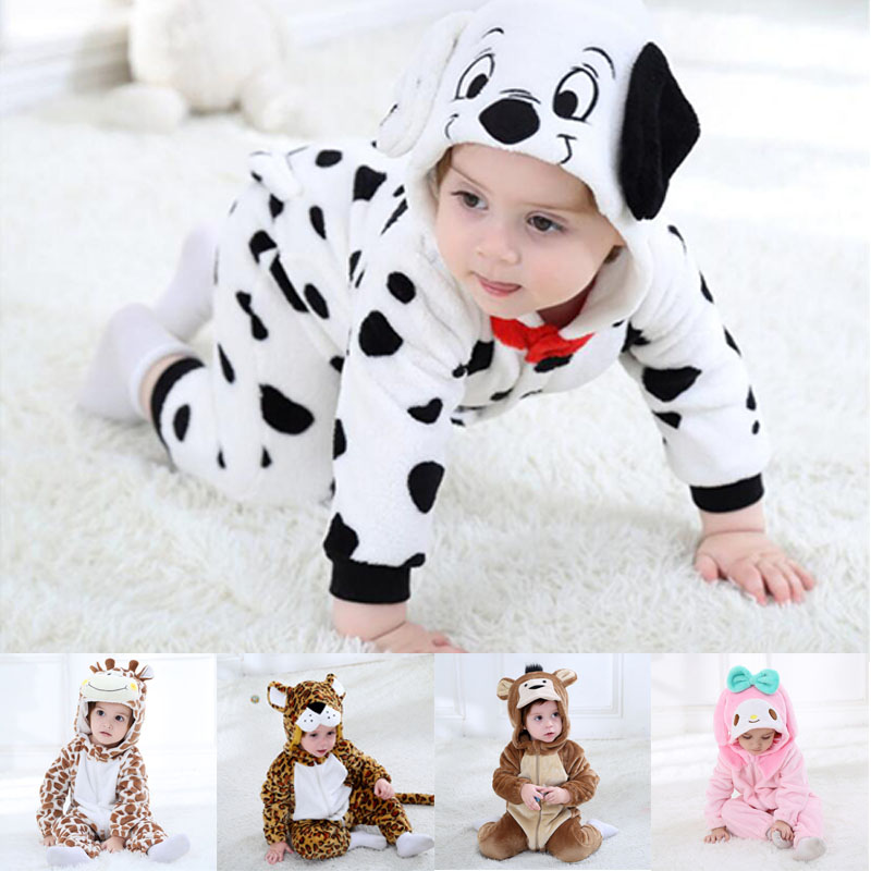 Baby Boys Girls Onesie Giraffe Leopard Monkey Dog Rabbit Cosplay Flannel Warm Cute Animal Kids Jumpsuits Pajama Costume   Rompers