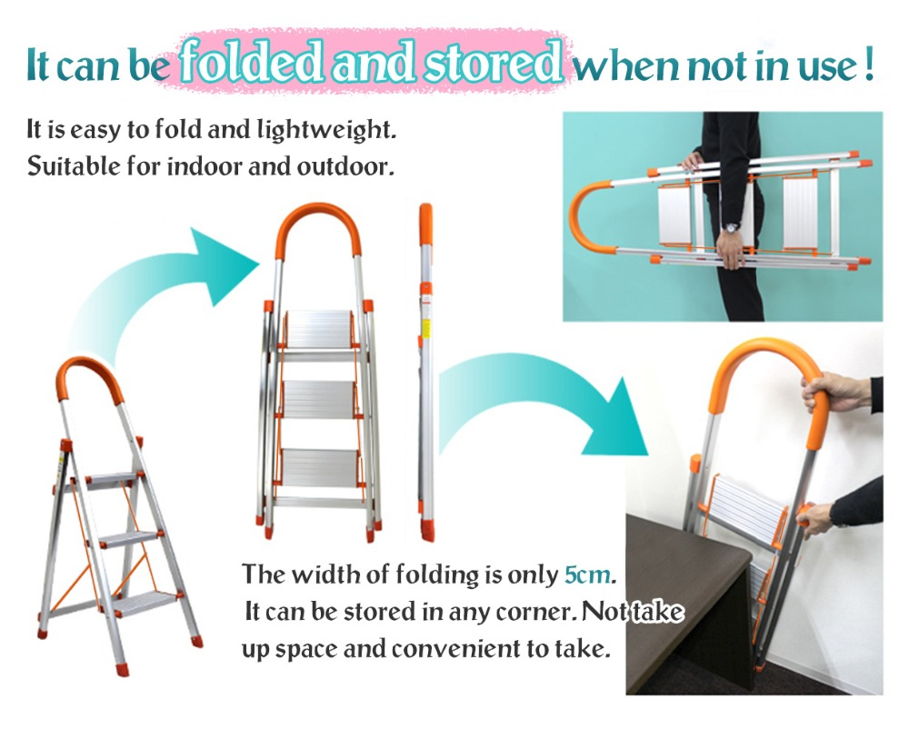 Admirable Us 129 65 3 4 5 Step Ladder Folding Stool Stepladder Non Slip Heavy Duty Aluminum Load Capacity Home Office Garage Dq9072 1 2 3 In Stools Machost Co Dining Chair Design Ideas Machostcouk