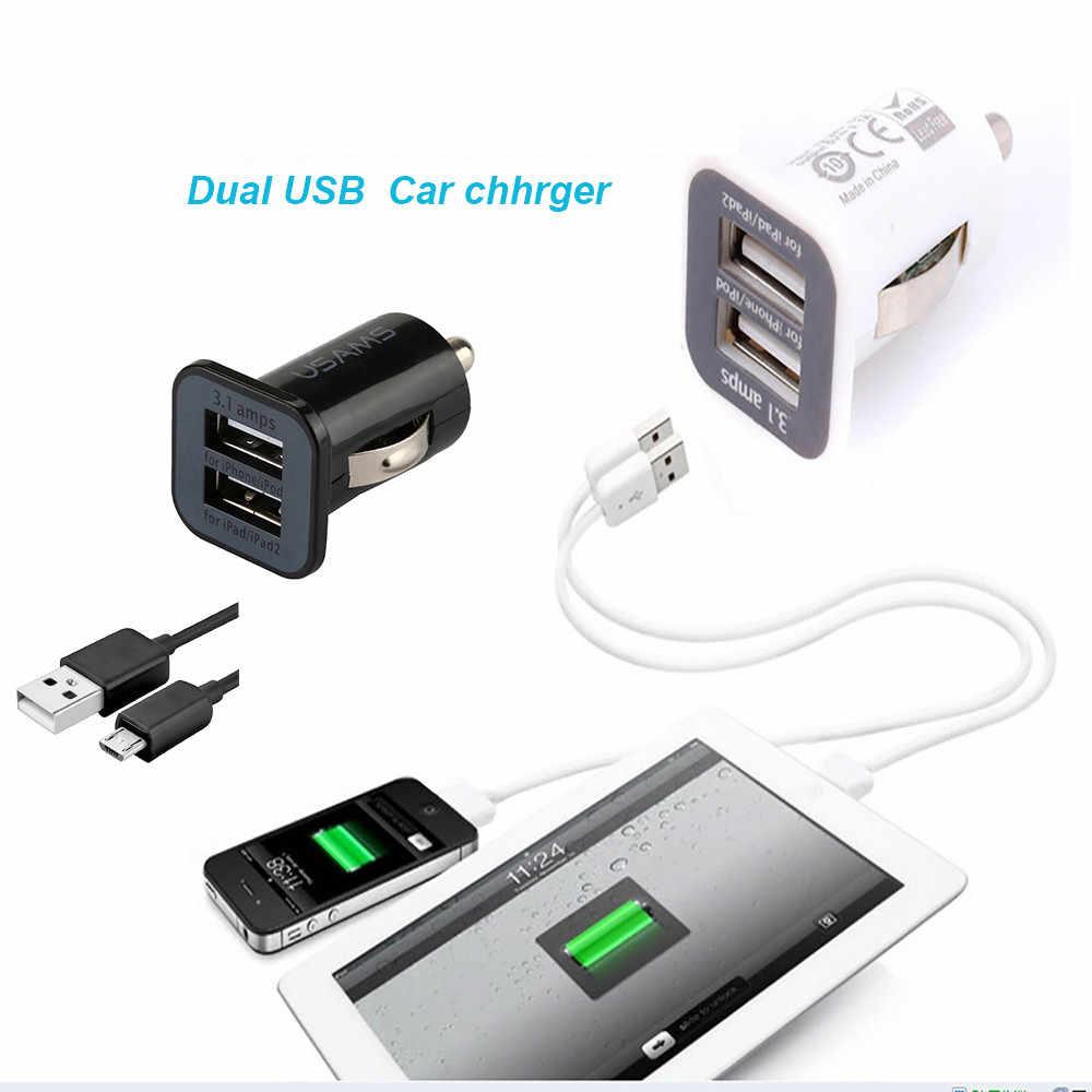 Adaptador USB Dual 2 puertos DC cargador de coche 3.1A con Cable Micro USB Universal para todos los dispositivos USB cargador de coche Dropshipping