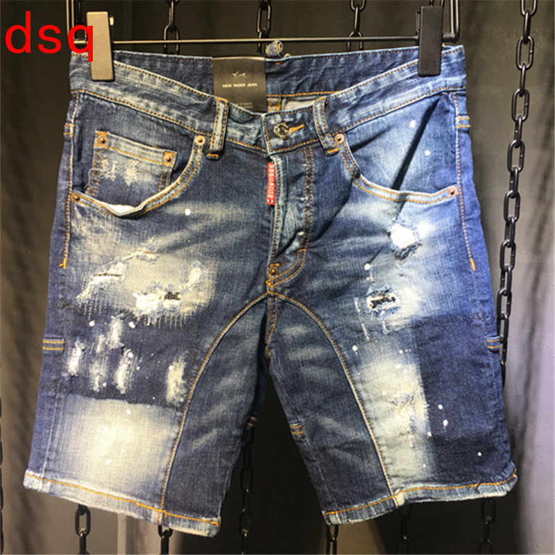 F.N.JACK Mens   Jeans   Stylish Ripped   Jeans   Man Skinny Short   Jeans   Moto&Biker Denim Men Straight Denim Zipper Fly Knee Length