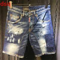 F.N.JACK Mens Jeans Stylish Ripped Jeans Man Skinny Short Jeans Moto&Biker Denim Men Straight Denim Zipper Fly Knee Length