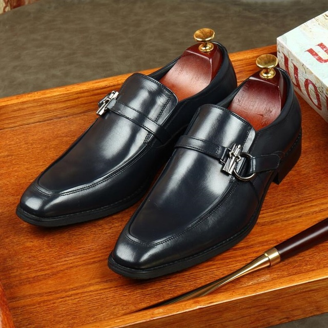 OMDE Slip On Leather Shoes Men Buckle Dress Shoes Luxury Square Toe Loafers Business Formal Shoes Men Banquet And Wedding Shoes