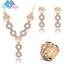 Miss Lady Rose Gold color Rhinestone Crystal Bohemia Round African Bead costume Jewelry Sets Fashion Jewelry for women MLZ1274