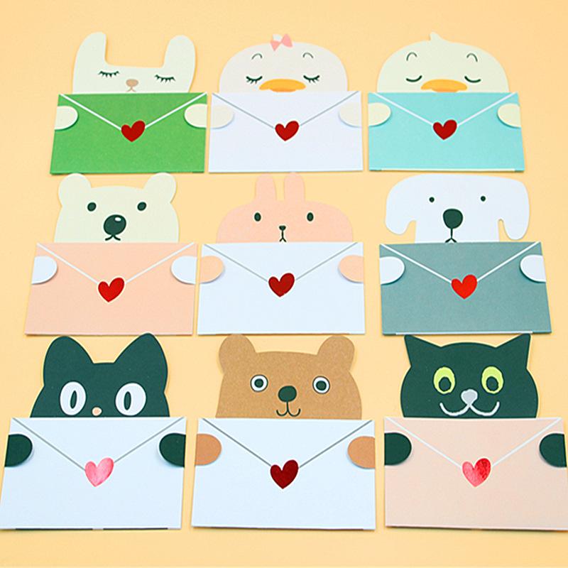 18 pieceslotmini cute kawaii invitation card lovely cartoon animal 1 m4hsunfo