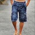 Nueva Llegada 2016 Pantalones Cortos de Mezclilla de Moda Masculina de Los Hombres Pantalones Cortos de Carga Multi-bolsillo Shorts Washed Denim Pantalones Cortos de Los Hombres vaqueros A1321