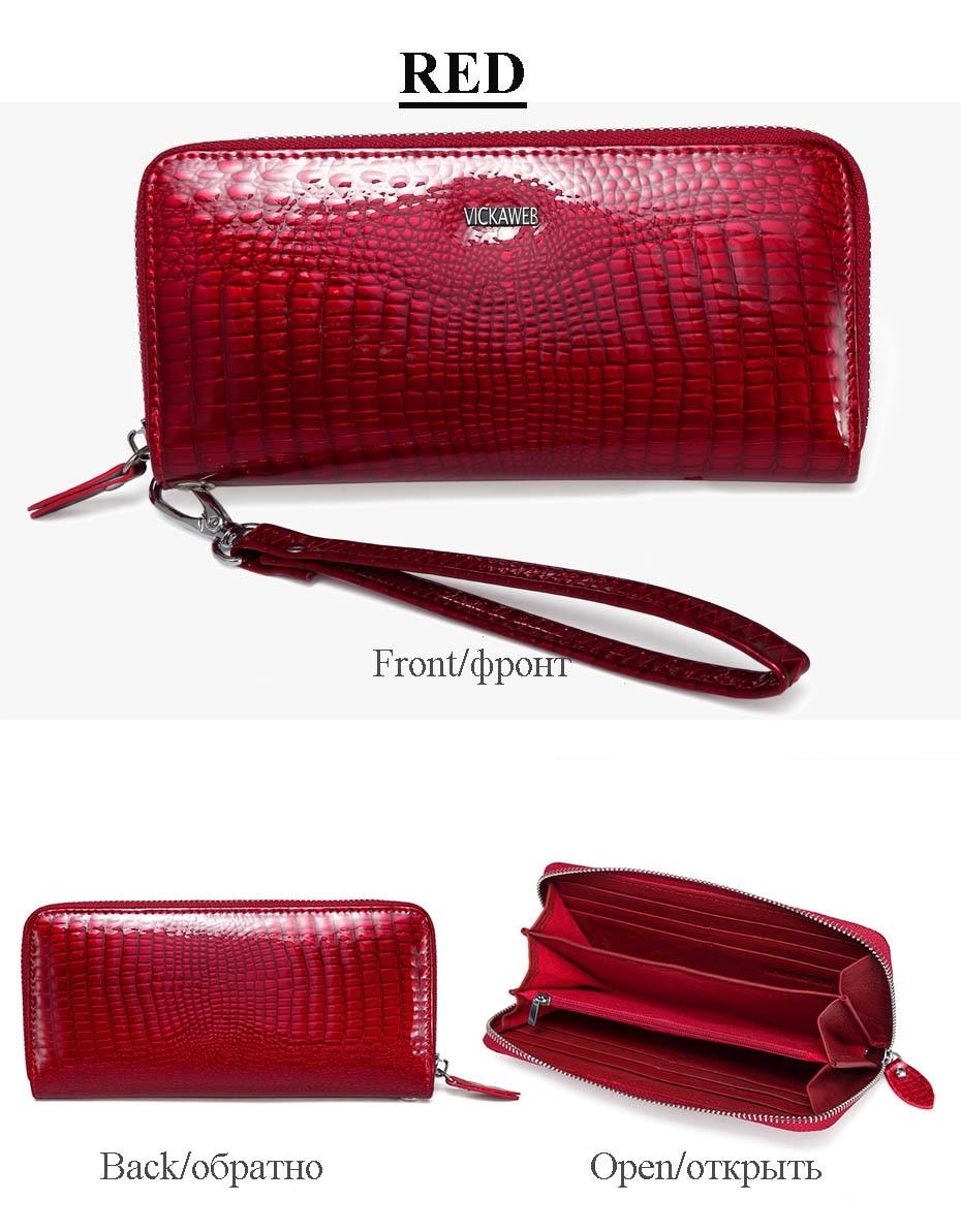 VICKAWEB Wristlet Wallet Purse Genuine Leather Wallet Female Long Zipper Women Wallets Card Holder Clutch Ladies Wallets AE38-018