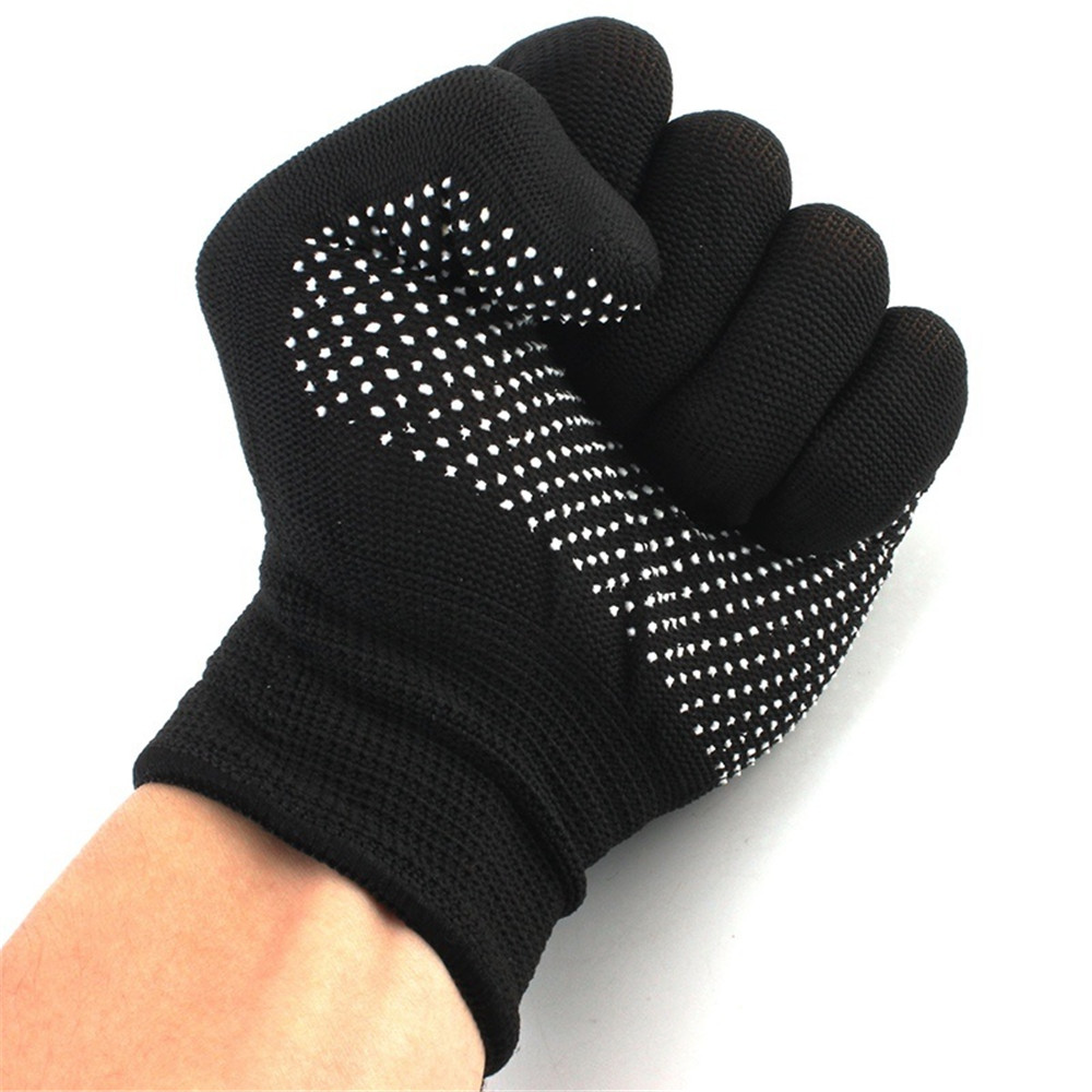 1 Pair Hair Straightener Perm Curling Hairdressing Heat Resistant Finger Glove Kitchen Glove Anti Abrasion Black Color Women's Gloves