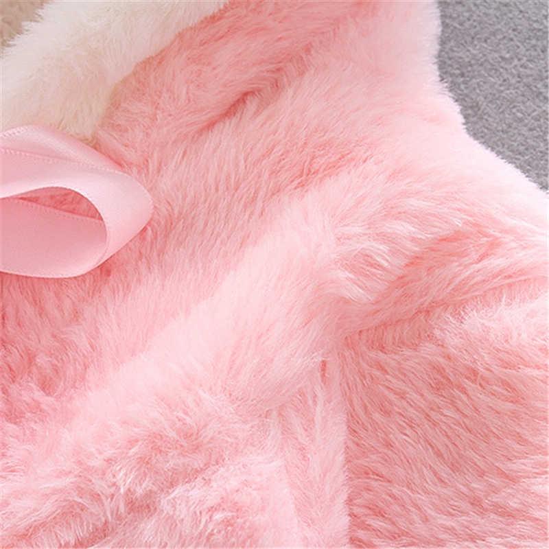 Inverno orelha de coelho 2018 quente bebê recém-nascido meninas casaco de pele casaco casaco jaqueta snowsuit outerwear