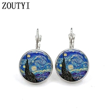 New / Van Gogh Painting Starry Star Earrings Night Womens Jewelry Round Crystal Dome Earrings.