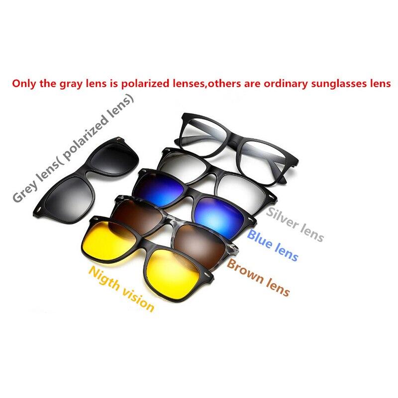 Nova 5 em 1 Magnéticos óculos de Sol Dos Homens Polarizados Clipe TR90  Retro Armação Dos Óculos de Visão Noturna de Condução Vidros Ópticos Com  Saco em ... 64b1de0e1c
