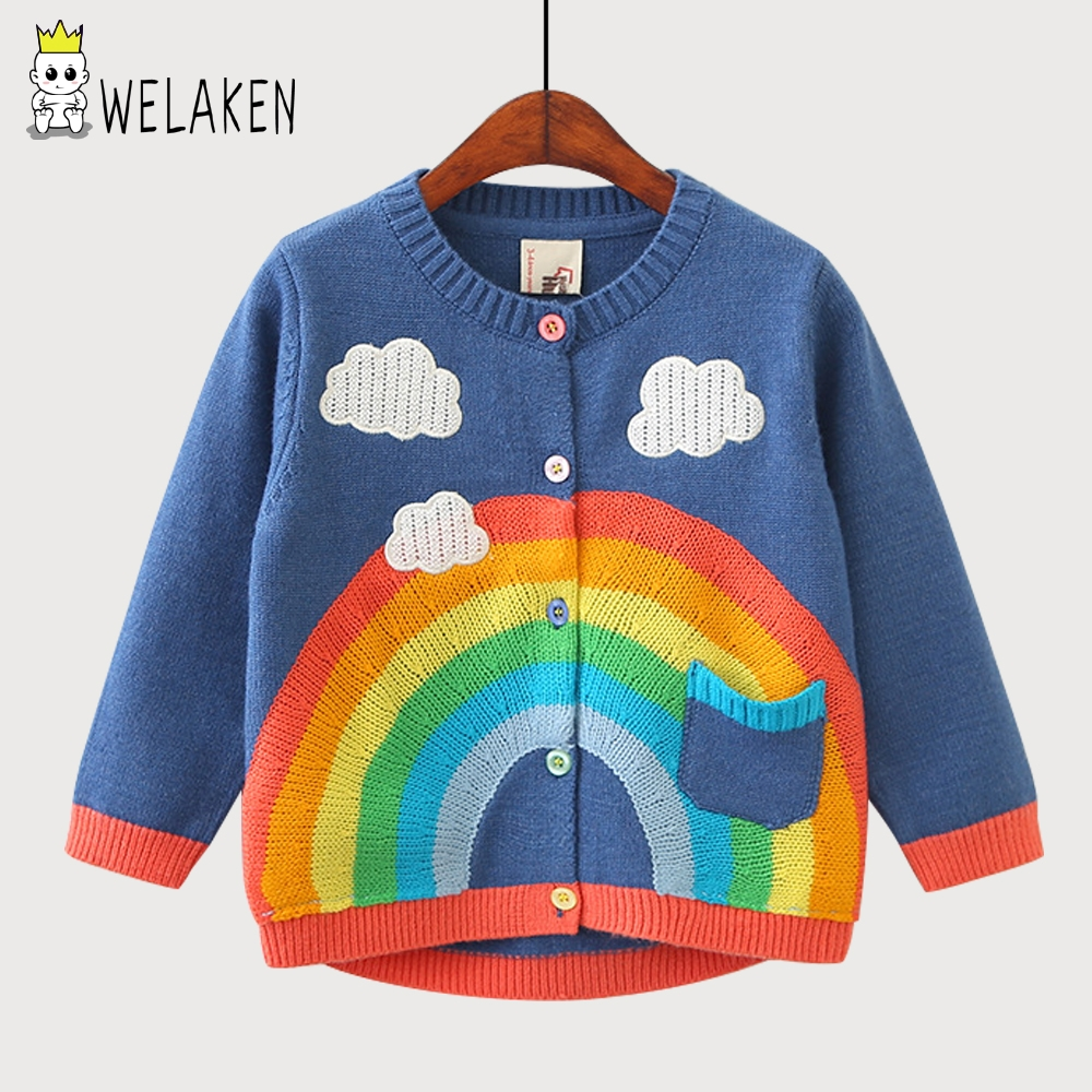 WeLaken 2018 New Arrive Girls Coat Cute Could Clouds Rainbow Pattern Cotton Knit Cardigan Kids Clothes Baby Boys Knitted Coat violins professional string instruments violin 4 4 natural stripes maple violon master hand craft violino with case bow rosin