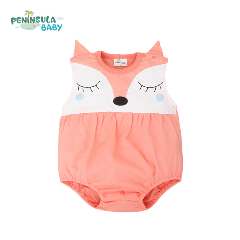 2016 Baby For Summer Newborn Romper Desinger Funny Fox Cartoon Boys Costumes Girls Clothes Infant Jumpsuit Cheap Sale