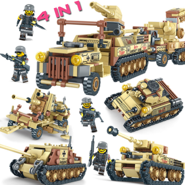 LWKO 4 in 1 Second World War Military Tank Building Blocks Miniature Guns Compatible With Legoe DIY Kids Toys For Children Gift