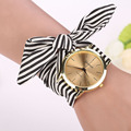 Fashion Quartz Watch Women Stripe Floral Cloth Clock Dial Bracelet Wristwatch  Quartz-watch Watch Montre Femme Relogio Feminino