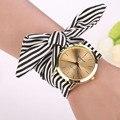 Moda Reloj de Cuarzo de Las Mujeres de La Raya Floral Paño Reloj de Pulsera con Esfera de Cuarzo Reloj de pulsera-reloj Relogio Feminino Montre Femme