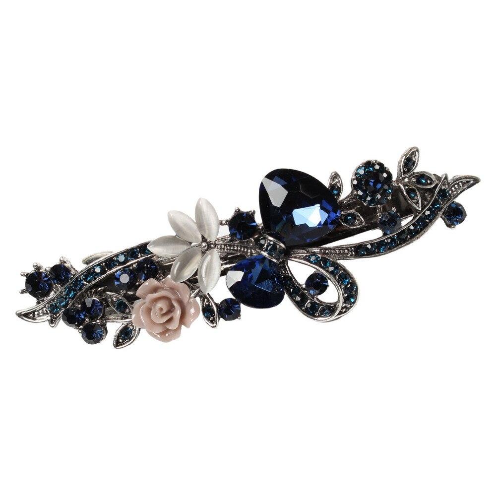 Vintage Crystal Alloy Barrettes Opal Leaf Resin Flower   Headwear   Jewelry For Women Girls Elegant Hair Clip Hair Accessories