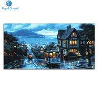 50x100cm Canvas Paintings By Numbers Home Decoration Oil Painting By Numbers Kits Water City Night Scenery