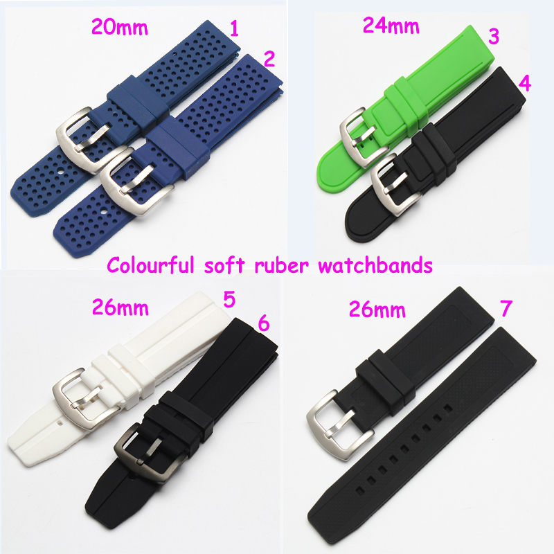 2016 New 24mm 26mm silicone watch strap rubber watchband waterproof black width soft and comfortable Watch strap nordic modern wood glass pendant lights simple art coffee restaurant hanging lamp living bedroom pendant lamp for home lighting