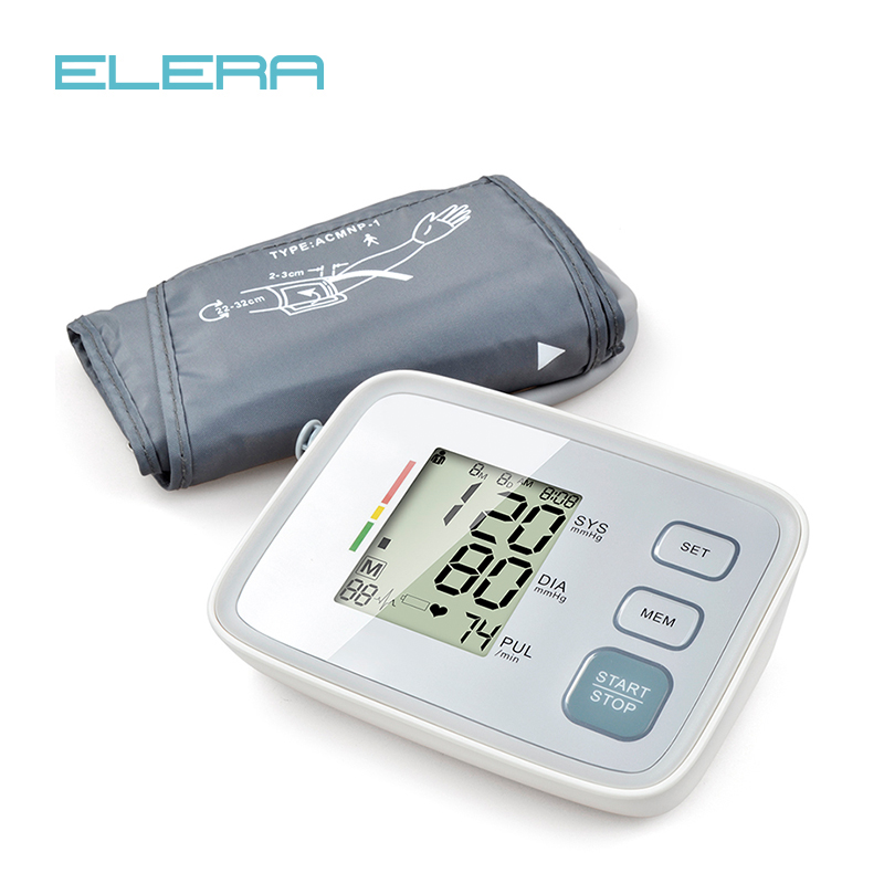 ELERA Digital Upper Arm Blood Pressure Monitor Portable LCD Display tonometer measuring bp Heart Beat Meter sphygmomanometer blood pressure monitor automatic digital manometer tonometer on the wrist cuff arm meter gauge measure portable bracelet device